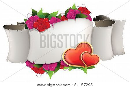 Paper Scroll With Hearts And Flowers
