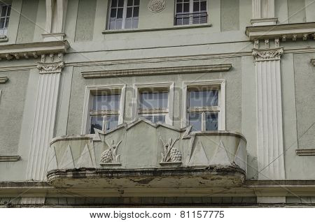 Interesting balcony at old building in Ruse town, Bulgaria