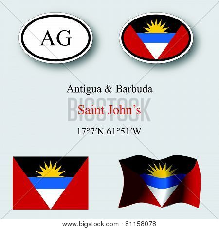 Antigua And Barbuda Icons Set