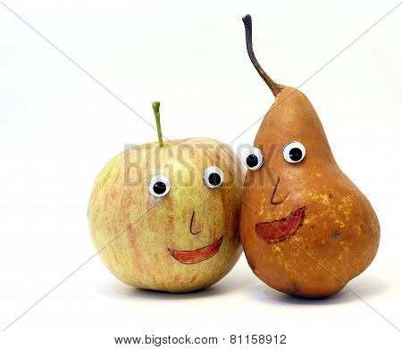 Nice Pair Of Fruits: Apple And Pear With Eyes