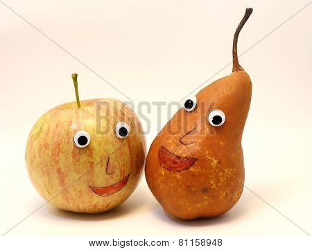 Pair Of Fruits Apple And Pear With Big Eyes