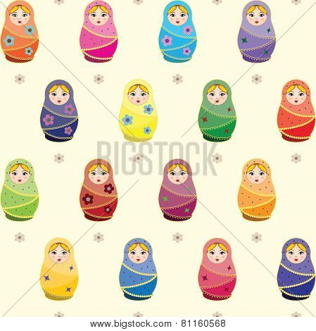 Seamless pattern with russian traditional dolls Matryoshkas
