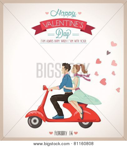 Loving couple on a scooter