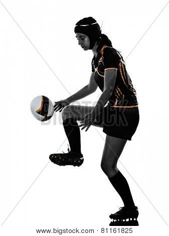 one rugby woman player in silhouette isolated on white backround