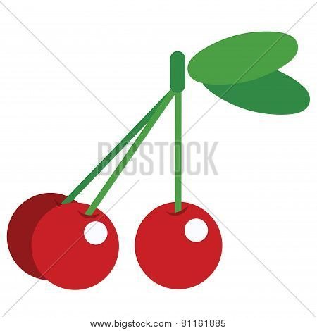 Three Cartoon Vector Simple Shiny Cherries Isolated In White Background