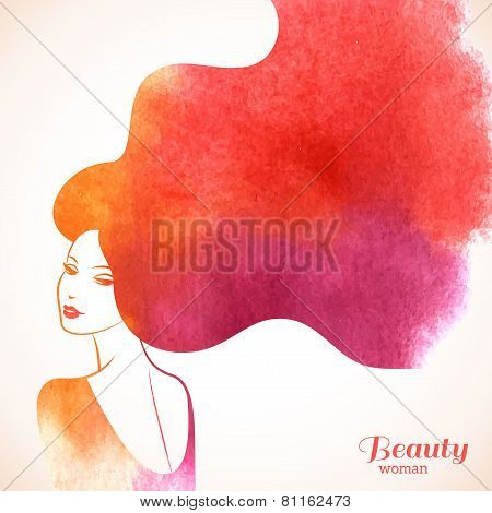 poster of Watercolor Fashion Woman with Long Hair.