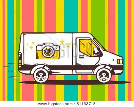 Illustration Of Van Free And Fast Delivering Photo Camera To Customer On Pattern Color Backgr