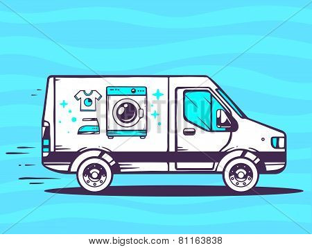 Illustration Of Van Free And Fast Delivering Washing Machine To Customer On Blue Background.