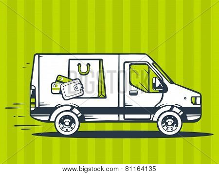 Illustration Of Van Free And Fast Delivering Bag And Money Purse To Customer On Green Pattern