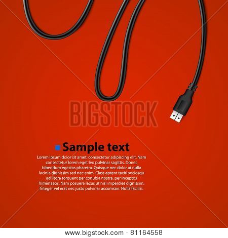 USB Cable Plug isolated Background.