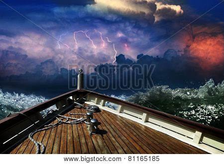 ship during a storm