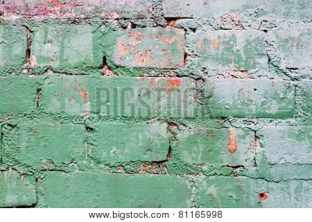 Textured Old Green Wall Of Brick With Traces Of Rubbing