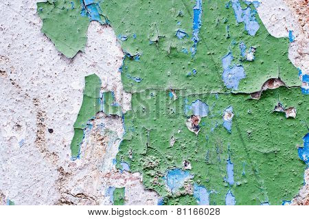 Textured Old Green Wall With Several Layers Of Paint Overfly.