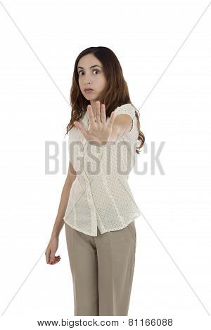 Business Woman Showing Stop Sign