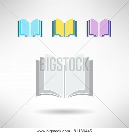 Set of simple book icons. Notebook sign. Learning and library concept. Vector