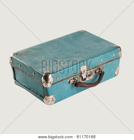 Vintage Empty Leather Suitcase. Light-blue (turquoise). Baggage. Isolated. Retro Vintage Suitcase Ba