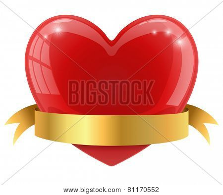 Red glossy heart with golden banner vector illustration.
