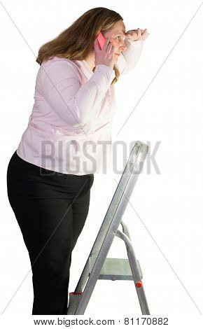 Business woman and step ladder