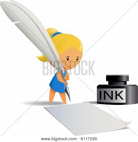 Cartoon girl write by feather pen