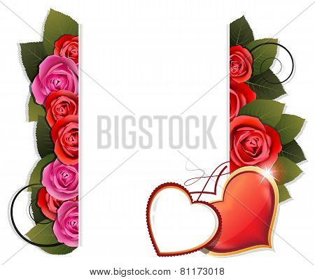 Valentine Hearts And Roses Background