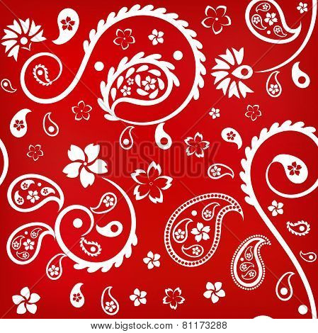 Seamless floral ornament with turkish (indian) cucumbers, white on red background