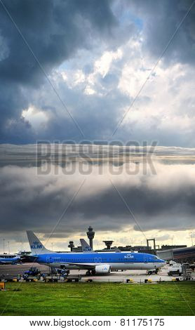 AMSTERDAM KLM planes at Schiphol Airport May 18, 2014 in Amsterdam, The Netherlands.