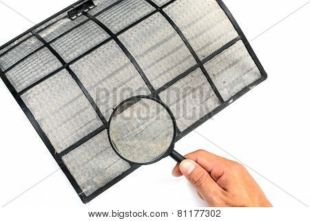 Close up dirty air conditioner filter