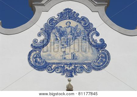 Exterior detail of the Saint Lawrence of Rome church in Almanci,l Portugal.