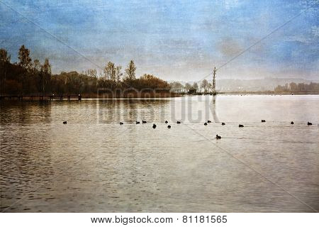 Autumn at lake Chiemsee, Germany, picture with texture