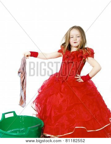 Young Cinderella Dressed In Red With Dirty Cloth