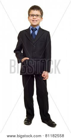 friendly school boy in suit on white