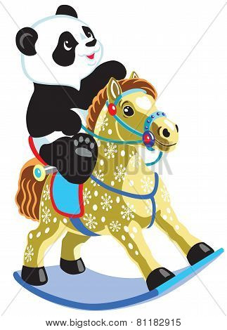 little panda riding a rocking horse