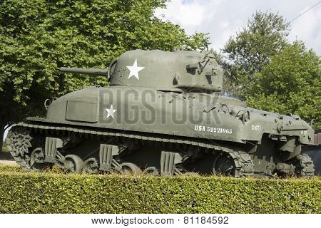 Sherman Tank in the memorial museum of the Battle of Normandy, Bayeux, Normandy, France.