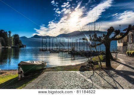 Dock Boats At Lake Como Italy
