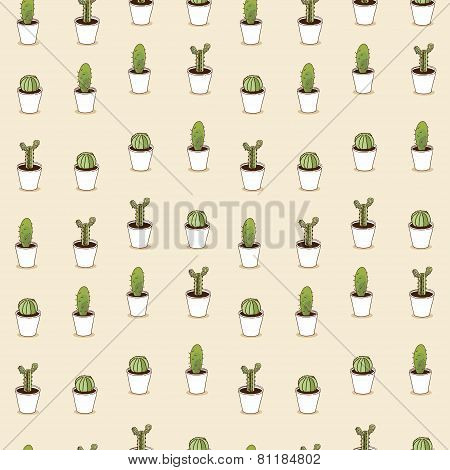 Cacti hand drawn seamless repeat  pattern