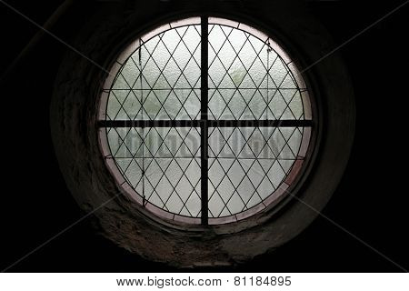 Round window in the Cathedral of the Assumption of Our Lady in Sedlec near Kutna Hora, Czech Republic.