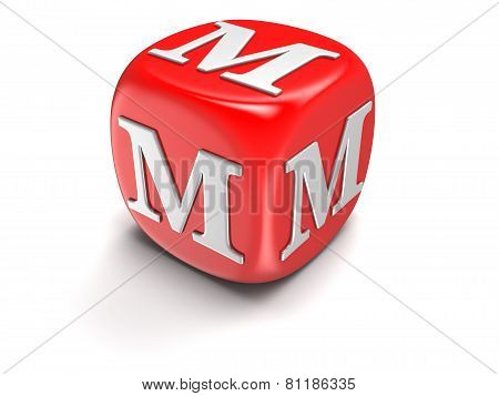 Dice with letter M (clipping path included)
