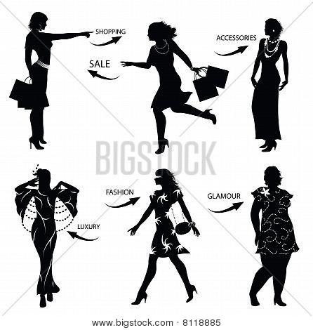 Fashion Shopping Woman Silhouettes