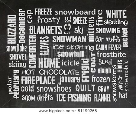 winter word art on blackboard