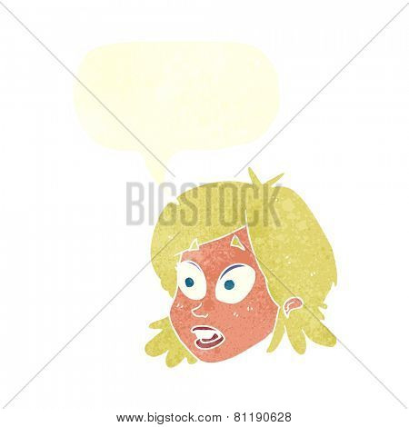 cartoon startled woman with speech bubble