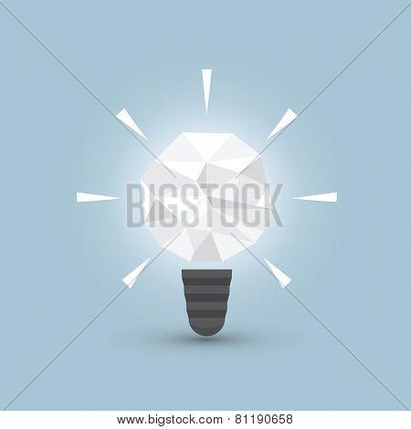 Crumpled Paper Light Bulb, Idea Concept
