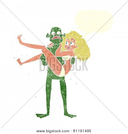 cartoon woman and monster
