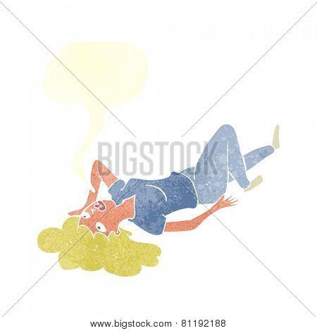 cartoon woman lying on floor