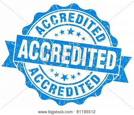 Accredited Blue Vintage Isolated Seal