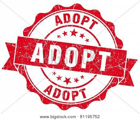 Adopt Red Vintage Isolated Seal