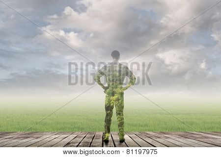concept of man with nature with double exposure