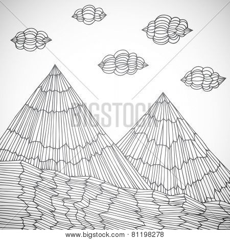 Original hand drawn mountains, vector eps10 illustration
