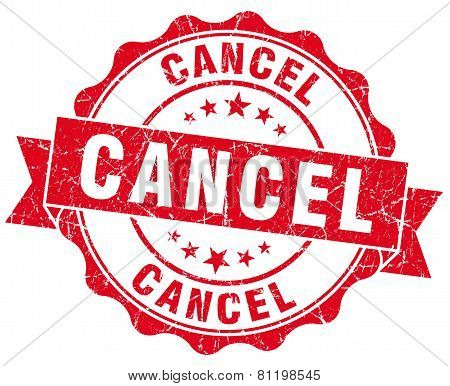 Cancel Red Vintage Isolated Seal