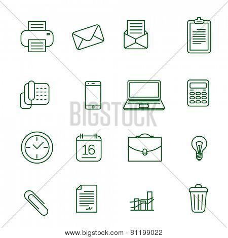 Office thin line vector icon set