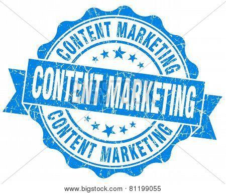 Content Marketing Blue Vintage Isolated Seal